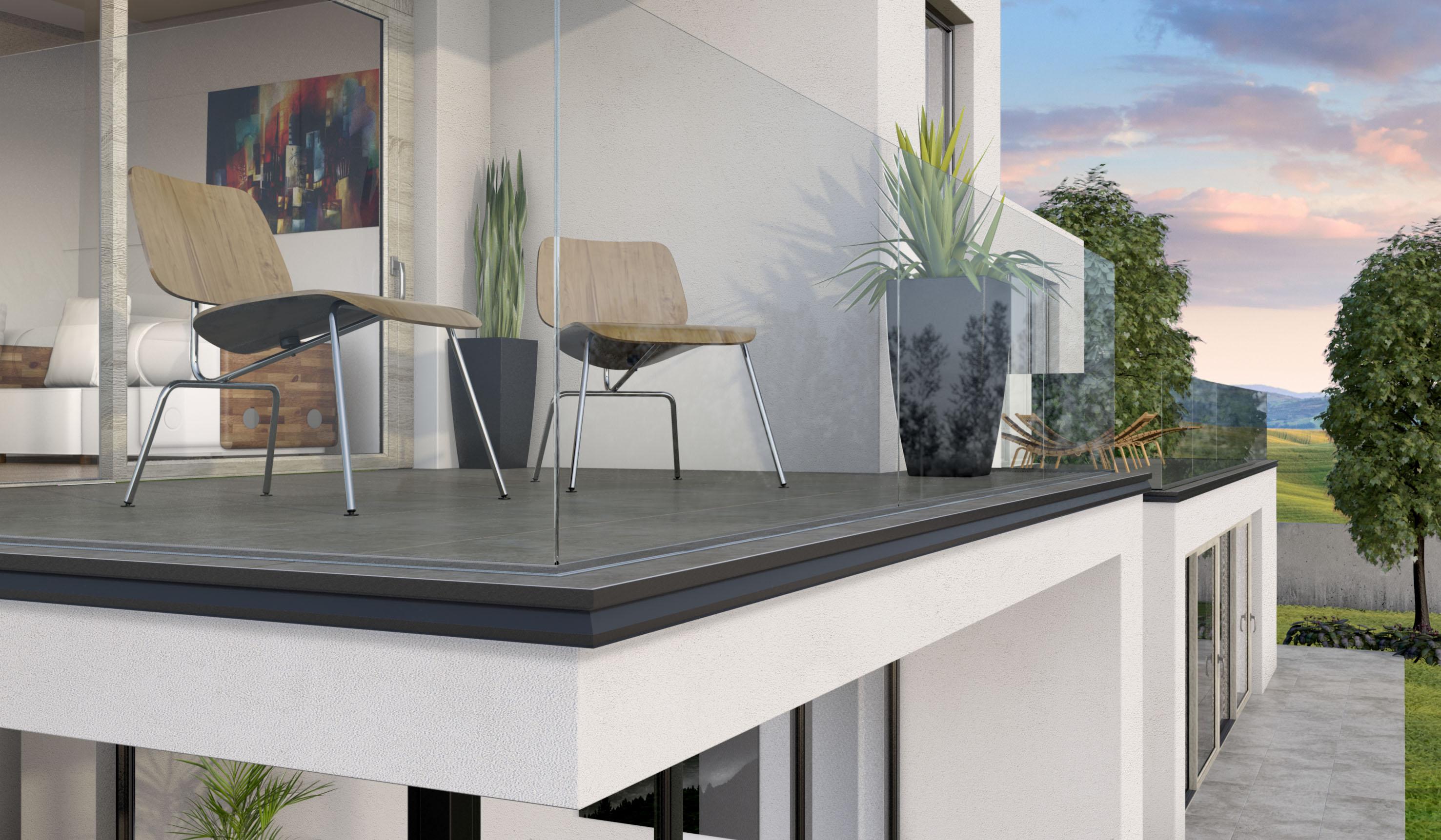 Linea di profili in alluminio e acciaio per balconi e terrazze e ...